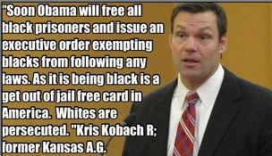 Kris Kobach Black Prisoners Obama Quote