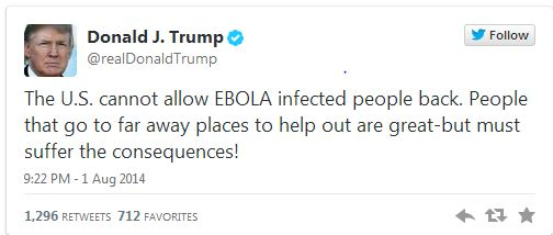 Donald Trump offers his uniquely bigoted take on the Ebola outbreak.
