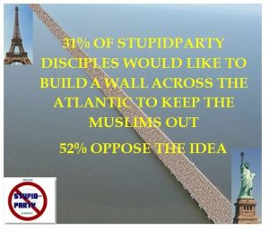 31% of Stupidparty disciples would like to build a wall across the Atlantic to keep Muslims out
