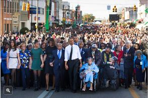 Obama marching in Selma for iconic civil rights anniversary