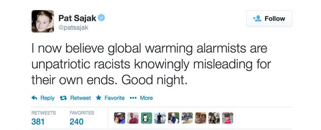 Pat Sajak Global Warming Alarmist Tweet
