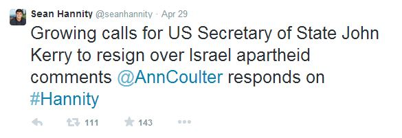 Sean Hannity: John Kerry Israeli Apartheid Comment