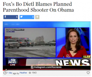Once again, the blame falls on Obama, this time for the Planned Parenthood attack.
